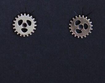 Bronze Cog/Gear post Earrings