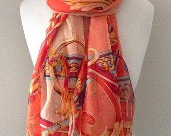 Orange Silk Scarf with ornamental print - Customized to Long or Loop style for spring, summer, and fall, mother's day gift