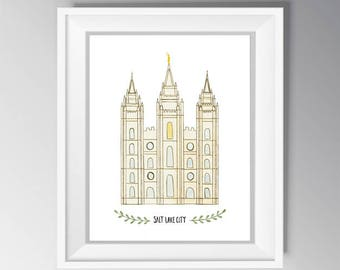 Salt Lake City LDS Temple Watercolor INSTANT DOWNLOAD