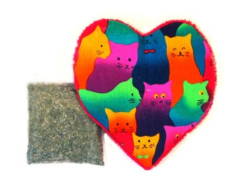 Catnip Heart Toy with Catnip Large Size Colorful Cats  Refillable