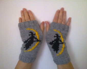 Witch Broomstick and Moon wrist warmers  -  fingerless mittens - gloves