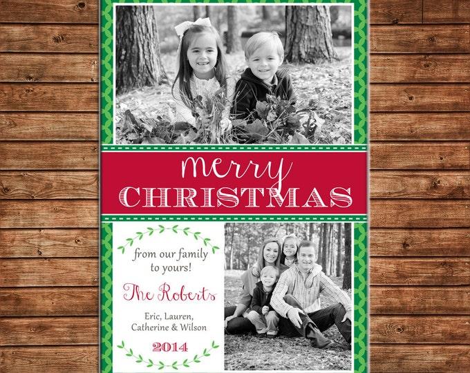Photo Picture Christmas Holiday Card Traditional Elegant Wreath Quatrefoil Mod Modern - Digital File