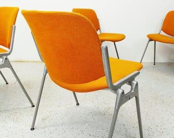 Castelli Giancarlo Piretti mid century modern tweed aluminum base chairs FREE SHIPPING