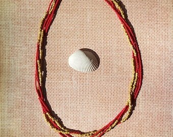 Gold and Red Twist Necklace