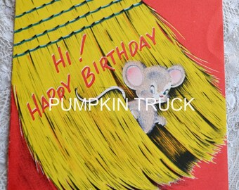 Vintage Birthday Card - Flocked Mouse in Broom - Used Norcross