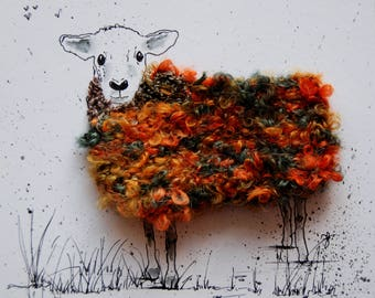 "Woolly sheep portrait - ""Gwen""  Original, ink and wool"