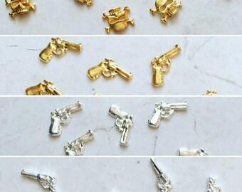 2 Nail Charms - Guns & Skulls - Kawaii - DIY Nail Decorations - Your Choice - Gold Skull, Gold Gun, Silver Gun, Silver Revolver - Kawaii