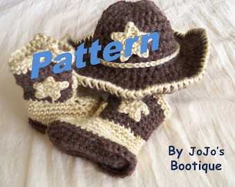 PDF Baby Cowboy Hat and Boots PATTERNS - Star Cowboy Hat and Boots Set - Western  Hat and Boots Pattern - Instant Download-by JoJosBootique