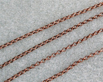 Antique Copper Round Rolo Chain 2mm Nickel Lead Free 371-AC