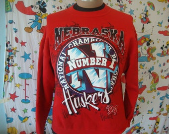 Vintage 90's Nebraska Cornhuskers 1994 Champs Football Red Huskers Sweatshirt Sz L