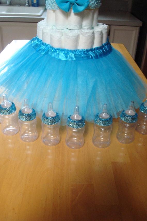 Tiffany Themed Baby Shower Blue Glitter Baby Bottle Favors