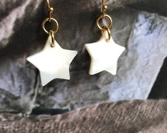 Star shell earrings ,Star earrings,Shell earrings,Gold earrings