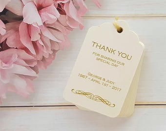 10 Personalised Wedding Favour Tags, Thank you - Scalloped Luggage Shaped Tag