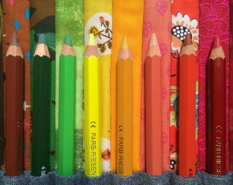 Color coded pencil roll for Lyra color Giants, Waldorf pencils, fat pencils