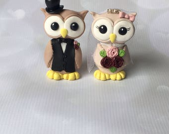 Custom Owl Wedding Cake Topper, Bride and Groom Wedding Cake Topper.