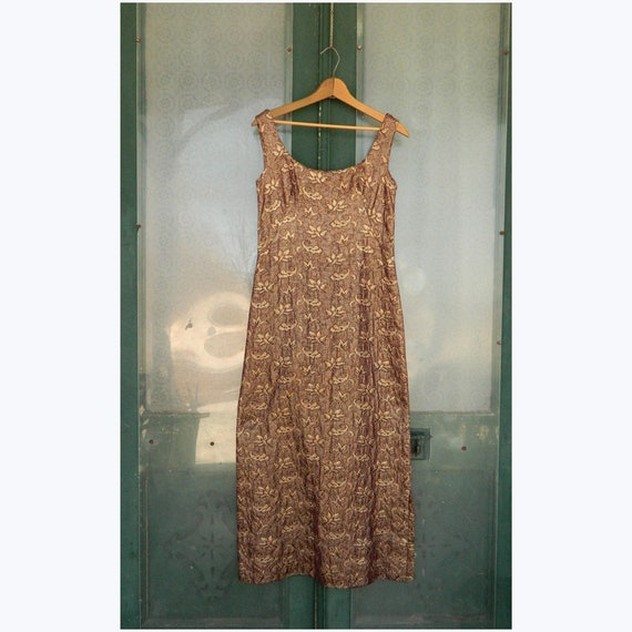 Vintage 1970s Sleeveless Evening Dress -S/M- Gold/Maroon Metallic Weave