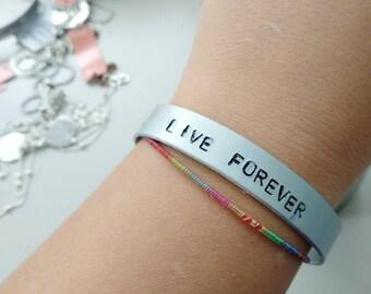 LIVE FOREVER - Oasis - Liam Gallagher - Noel Gallagher - Definitely Maybe - handstamped bracelet