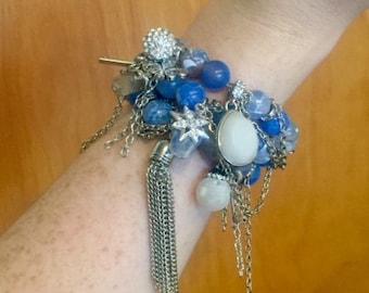 Blue/White & Silver Charm Bracelet Stack