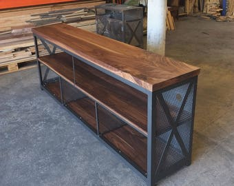 Steel and Walnut Media and Record Console w/Industrial Dividers