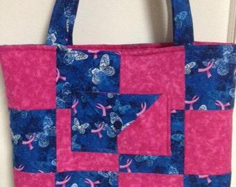 Breast Canccer Ribbon Print Tote Bag
