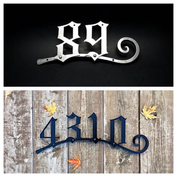 HOUSE ADRESS NUMBERS with Hand Forged Scrolled Bar - House Street Numbers - Plaque - Sign - Custom - Hand Made - Signed by Naz