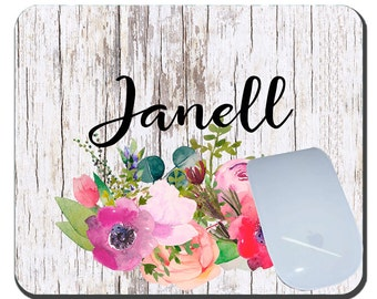 Watercolor Flowers Personalized Mouse Pad, Custom Mousepad, Shabby Chic Custom Mousepad, Custom Monogrammed Mouse Pad, Unique Office Gift