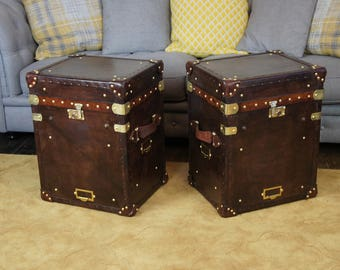 Matching Pair of Chestnut Brown Leather Occasional Side Tables