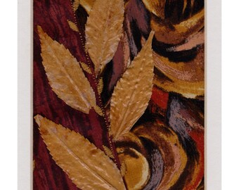 Mini Crazy Quilt Style Collage Autumn Leaves in the Wind Ready to Frame 10 x 8 inch mat
