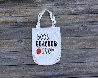 Best Teacher Ever Tote bag |  Teacher Gift | Reusable Grocery Bag | School Bag | School Supply Bag | Cute Teacher Gift