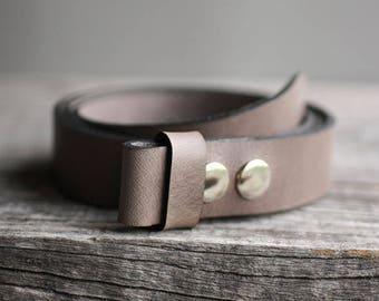 Gray genuine leather snap belt, gray snap on belt, Handmade leather belt, belt strap for buckle, gift for him, man gift idea, for her