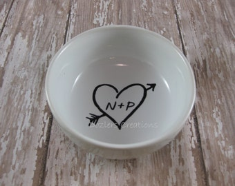 Personalized Ring & Jewelry Dish with Arrow Through Heart