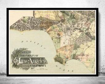 Vintage Old Map of Los Angeles 1898 United States