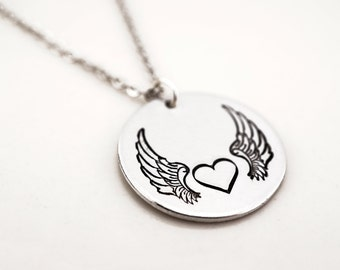 Free spirit necklace - gypsy necklace - angel wing necklace - heart with wings - Biker Jewelry - Biker Chick necklace - Harley Necklace