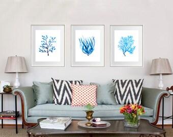 Coral Watercolour Art Prints / Set Of 3 / Nautical Home Decor Artwork/  Hamptonu0027s Style