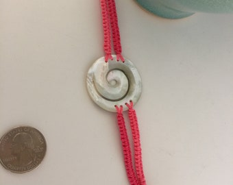 Mother of Pearl and hot pink Bracelet