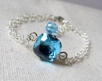 Sky Blue Crystal Bracelet, Swarovski Crystal Solitaire Bracelet, Sterling Silver, Bridesmaid Jewelry, Topaz Blue, Something Blue, Wedding