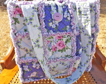 Purple Flowers Rag Tote - Rag Quilt Tote - Floral - purple, green - Handmade Tote - Purple Rag Tote - Gift for Her