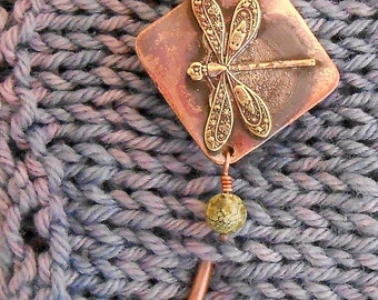 Shawl Pin Bronze Fancy Dragonfly with bead (you choose!)