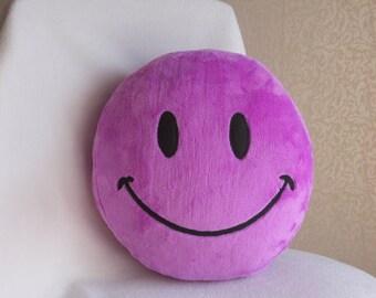 Smile, Smiley face, Smiley face pillow, Smiley, Purple Smiley face, Plush Smiley face, PURPLE PLUSH smiley face pillow