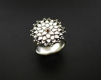 Dahlia Flower Ring in Sterling Silver