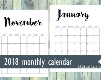 Printable monthly calendar 2018. Printable planner. A4, A5, Letter size pages. Black and white simple monthly planner. Vertical planner.