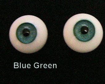 Beautiful  20mm Paperweight Glass Doll Eyes in Blue Green & Blue