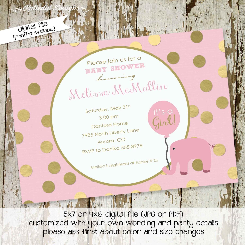 elephant baby shower invitation gold foil pink girl 1st birthday ...