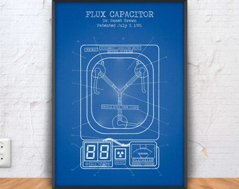 FLUX CAPACITOR poster, flux capacitor patent print, fantasy blueprint, movie decor, back to the future illustration, movie printable, #1326