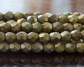 Opaque Green Luster Czech Glass Bead 4mm Round : 50
