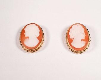 14K Yellow Gold Cameo Stud Earrings