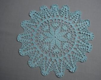 Blue crochet table doily, lace doily,blue doily, crochet tablecloth