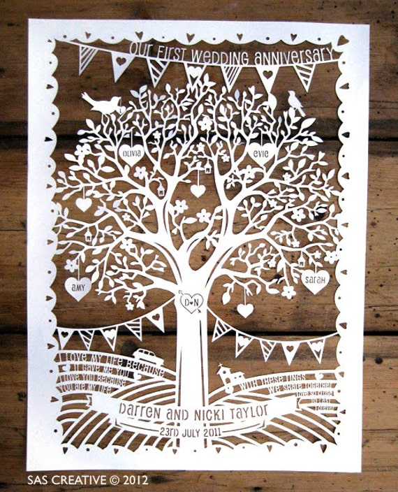 Personalised Family Tree Wedding Anniversary Papercut
