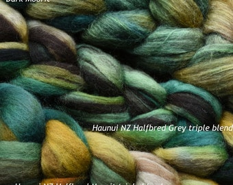 """Hand dyed combed tops (roving)  for felting and spinning - 100gr """"Mrs Green"""" on multi bases"""