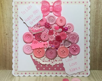 Giant Handmade Button Cupcake Card, Button Birthday Card, Mother's Day Card, Children's Card, Cupcake Card, Button Card, Valentine's Card